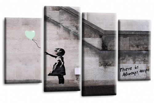 Banksy Art Balloon Girl Canvas Wall Picture Print Duck Egg